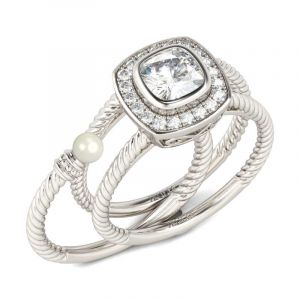 Jeulia  Rope Halo Cushion Cut Interchangeable Sterling Silver Ring Set