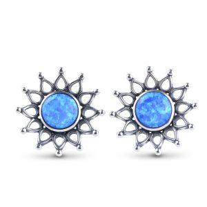 Jeulia Sunflower Opal Stud Earrings