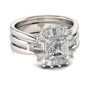 Jeulia  Modern Asscher Cut Interchangeable Sterling Silver Ring Set