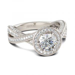 Jeulia  Milgrain Halo Round Cut Sterling Silver Ring