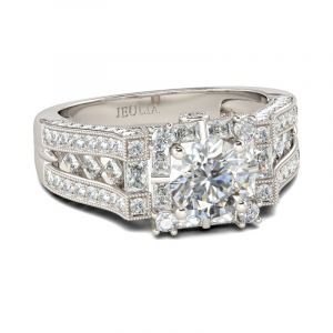 Jeulia  Art Deco Halo Round Cut Sterling Silver Ring