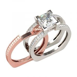 Jeulia  Two Tone Princess Cut Interchangeable Sterling Silver Ring Set