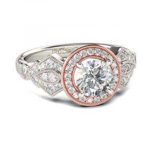 Jeulia Two Tone Halo Round Cut Sterling Silver Ring