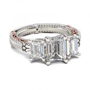 Jeulia Three Stone Emerald Cut Sterling Silver Snake Ring