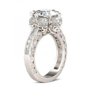 Jeulia  Milgrain Round Cut Sterling Silver Skull Ring