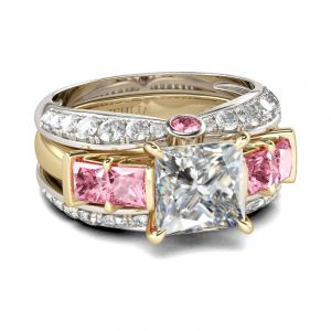 Jeulia  Two Tone Princess Cut Sterling Silver 3PC Ring Set