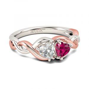 Jeulia Two Tone Twist Heart Cut Sterling Silver Ring