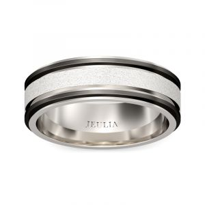 Jeulia Two Tone Frosted Stainless Steel Men's Band