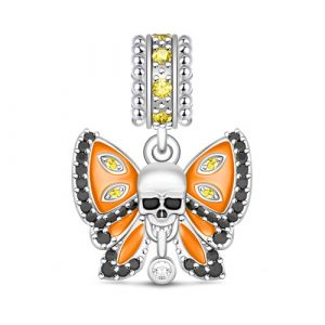 Butterfly With Skull Charm Sterling Silver