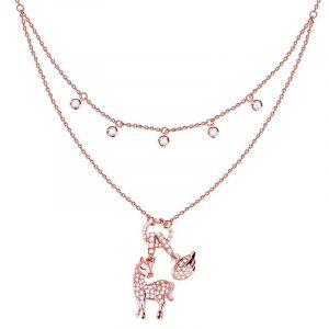 Jeulia Layered Unicom Sterling Silver Necklace