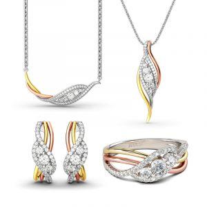 Jeulia Tri-Tone Round Cut Sterling Silver Jewelry Set