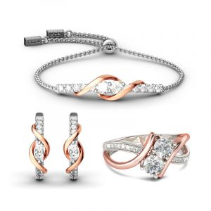 Jeulia Two Tone Two Stone Sterling Silver Jewelry Set