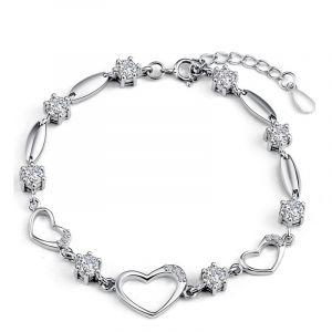 Jeulia Heart Shape Sterling Silver Bracelet