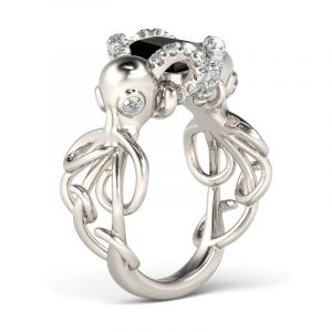 Jeulia  Entwined Emerald Cut Sterling Silver Octopus Ring