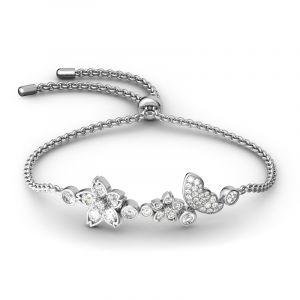 Jeulia Flower and Butterfly Sterling Silver Bolo Bracelet