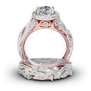 Jeulia Leaf Design Round Cut Sterling Silver Ring Set