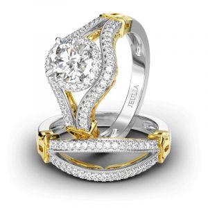 Jeulia Halo Split Shank Round Cut Sterling Silver Ring Set