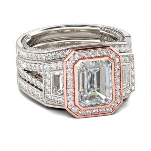 Jeulia 3PC Halo Emerald Cut Sterling Silver Ring Set