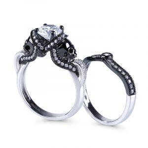 Jeulia Twist Two Tone Round Cut Sterling Silver Skull Ring