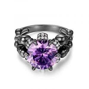 Jeulia Black Round Cut Sterling Silver Skull Ring
