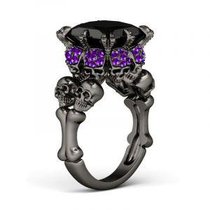 Jeulia Black Princess Cut Sterling Silver Four Skull Ring