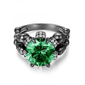 Jeulia Four Skull Green Round Cut  Sterling Silver Skull Ring