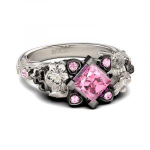 Jeulia Flower Design Princess Cut Sterling Silver Two Skull Ring