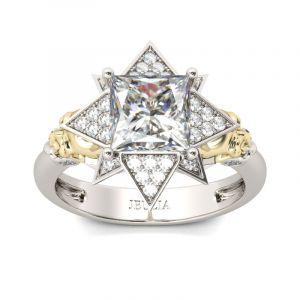 Jeulia Art Deco Princess Cut  Sterling Silver Skull Ring