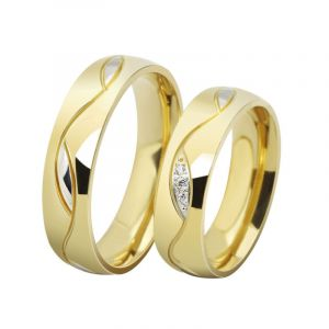 Jeulia Gold Tone Titanium Steel Couple Rings