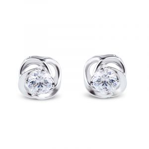 Jeulia Classic Flower Sterling Silver Stud Earrings