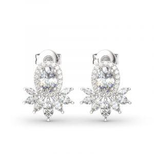 Jeulia Halo Oval Cut Sterling Silver Stud Earrings