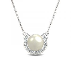 Jeulia Half-round Created Pearl Women's Necklace