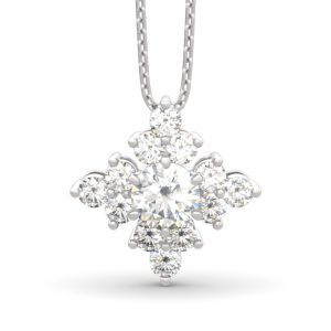 Jeulia Sparkling Cluster Round Cut Sterling Silver Necklace