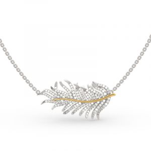 Jeulia Two Tone Feather Sterling Silver Necklace
