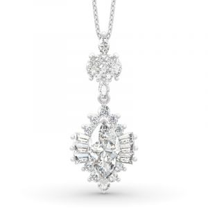 Jeulia Dazzling Halo Marquise Cut Sterling Silver Necklace