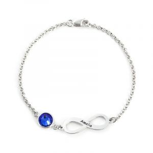 Jeulia  Infinity Sterling Silver Bracelet With Birthstone