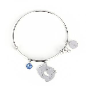 Jeulia  Classic Baby Feet Bangle Sterling Silver