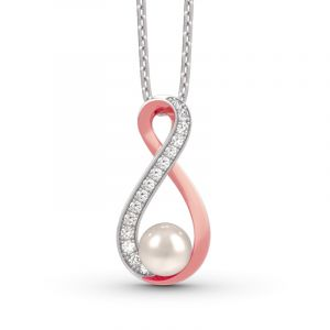 Jeulia Infinity Cultured Pearl Sterling Silver Pendant Necklace