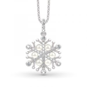 Jeulia Snowflake Cultured Pearl Sterling Silver Necklace