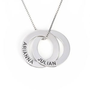 Jeulia  Russian Ring Engraved Necklace With 2 Rings Sterling Silver