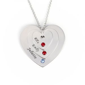Jeulia  Engraved Three Heart Necklace With Birthstones Sterling Silver