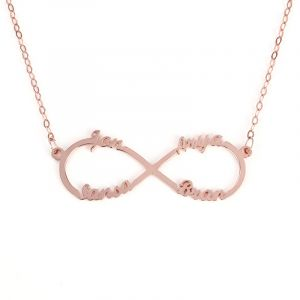 Jeulia Four Name Infinity Necklace Sterling Silver