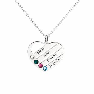 Jeulia Heart Shape Family Necklace with Birthstones Sterling Silver