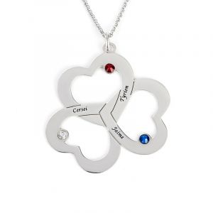 Jeulia Triple Heart Engraved Family With Birthstones Necklace Sterling Silver