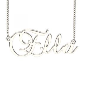 Jeulia Silver Brockscript Style Name Necklace