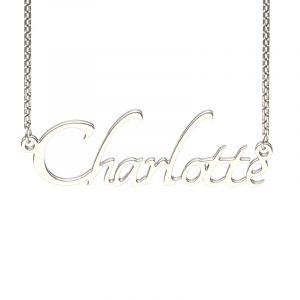 Jeulia Silver Tangerine Style Name Necklace