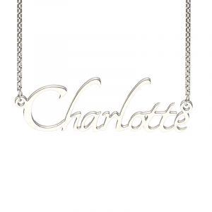Jeulia Silver Tangerine Style Name Necklace