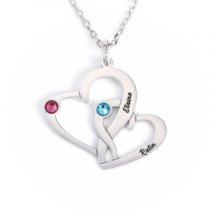 Jeulia Loving Heart Engraved Necklace With Birthstones Sterling Silver