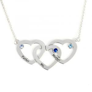 Jeulia Interlocking Heart Sterling Silver  Personalized Necklace