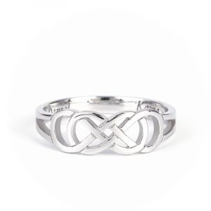 Jeulia Infinity Ring With Inner Engraving Sterling Silver